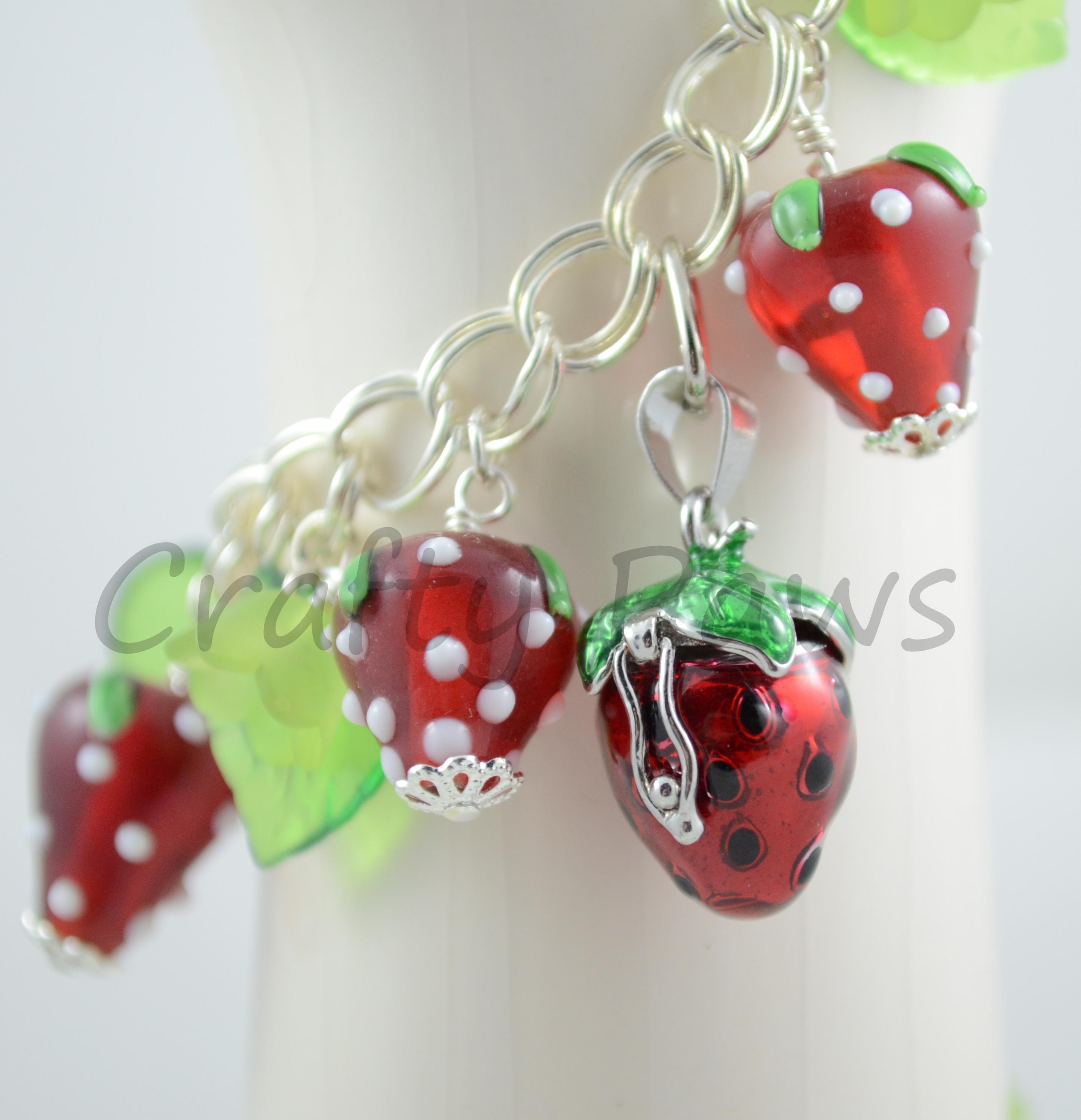 Ooak Strawberry Bracelet